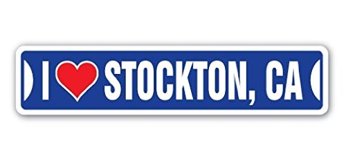 I LOVE STOCKTON, CALIFORNIA Street Sign Ca City State Us Wall Road DÃcor Gift - 22'' Long Sticker Graphic - Auto, Wall, Laptop, Cell Sticker ()