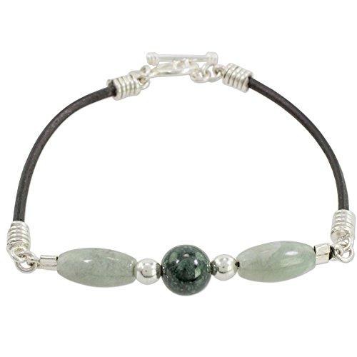 NOVICA Jade .925 Sterling Silver Leather Beaded Bracelet, 7.75