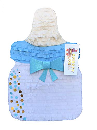 APINATA4U Baby Bottle Pinata with Blue & Gold Glitter Accents It's A Boy Little Man]()