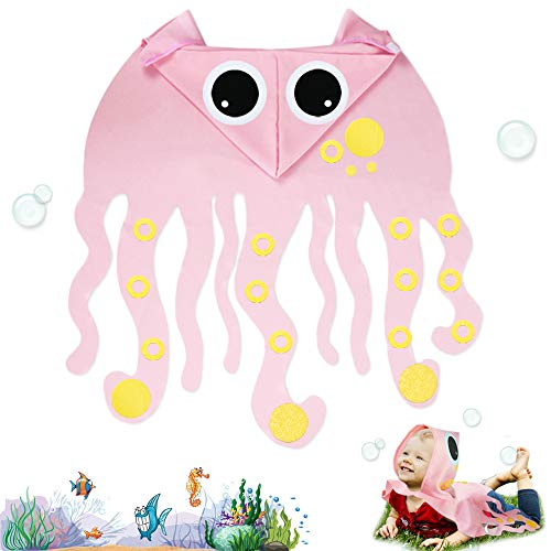 Toddler Kids Octopus Costume with Hat-Boys Girls Animal Dress Up DIY Cape Party Gifts (Pink)
