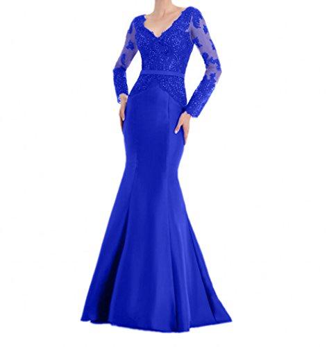 Royal Blau mia Promkleider Lang Spitze Damen Meerjungfrau Fesltichkleider Abendkleider Etuikleider Braut La Partykleider Langarm Mit TO6wRZZ