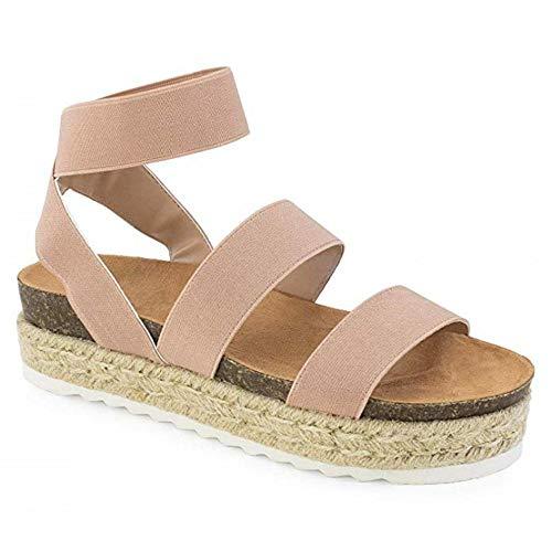 Women\'s Strappy Platform Sandals Open Toe Espadrille Sandal Elastic Strappy Adjustable Strap Platformed Sandals (Pink,5 M US)