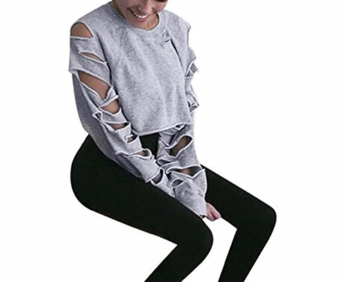 BSGSH Distressed Sweatshirt, Womens Ripped Pullover Sweatshirts Crop Top Long Sleeve (S, Gray)