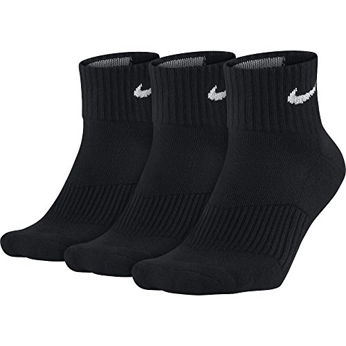 NIKE Unisex Performance Cushion Quarter Training Socks (3 Pair), Black/White, - Footwear Clothing