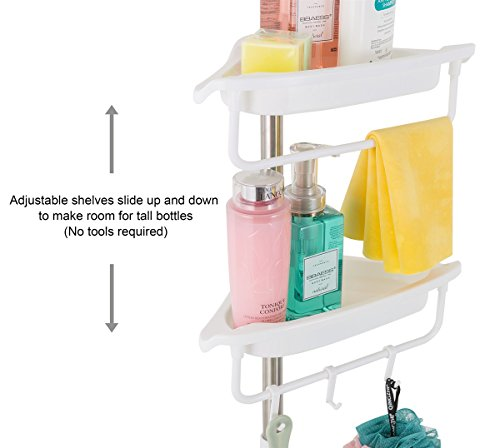 ALLZONE-Constant-Tension-Corner-Shower-Caddy-Stainless-Steel-Pole-Rustproof-Strong-and-Sturdy-White