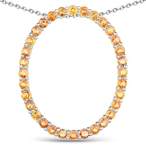 (Bonyak Jewelry Genuine Round Orange Sapphire Pendant in Sterling Silver)