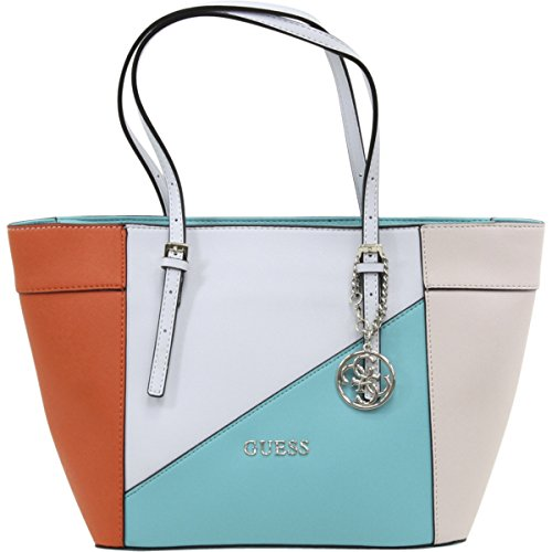 dcd37b90070a GUESS Women s Delaney Small Classic Tote Turquoise Multi - Import It All