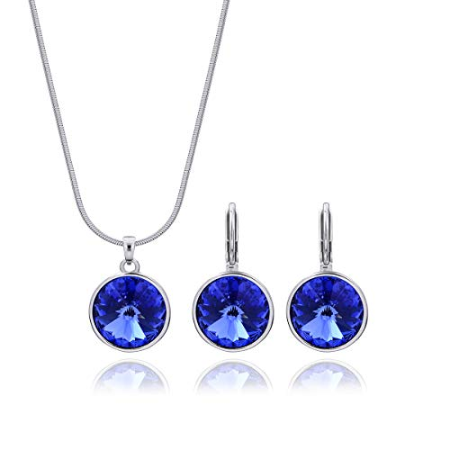 Swarovski Necklace Set for Women Sapphire Jewelry Set September Birthstone Necklace for Mothers Sterling Silver Big Elegant Round Blue Swarovski Crystal Pendant Necklace and Leverback Gala Earrings ()
