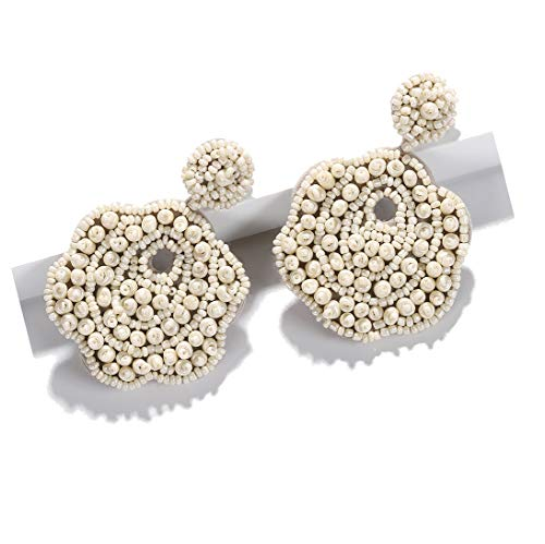 BEST LADY Statement Drop Earrings for Women - Bohemian Beaded Round Earrings, Idea Gift for Mom, Sister and Friends (Cream Flower) ()