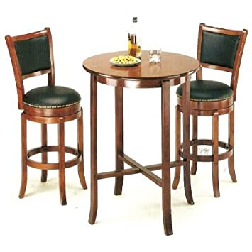 3pcs York Cherry Pub Table Set With 2 Bar Stools