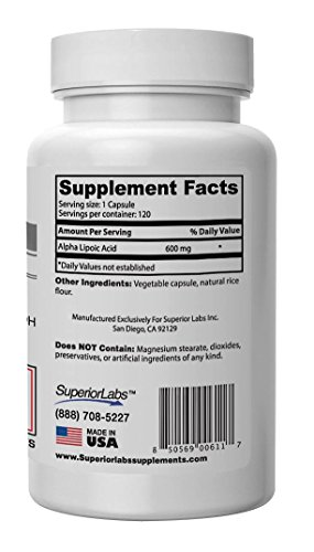 Superior Labs Alpha Lipoic Acid - Pure NonGMO ALA 600mg 120 Vegetable Caps - Zero Synthetic Additives Stearates Fillers - To Support Healthy Blood Sugar Nerve Health Tingling Feet Hands Limbs Discount