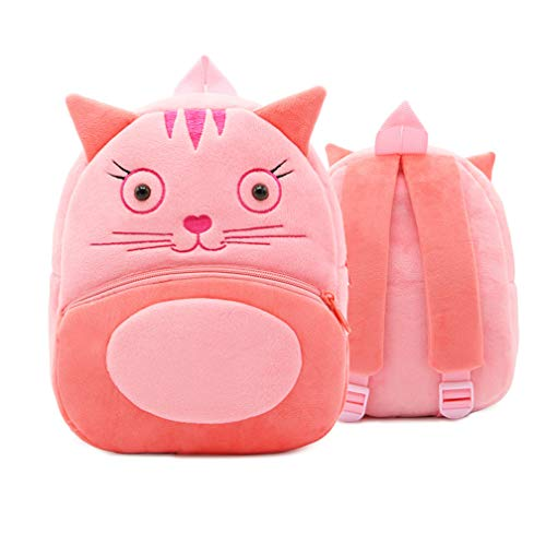Ladyzone Toddler Backpack Zoo Animals Backpacks Cute Plush Bag Cartoon 10' Preschool Book Bag For 1-6 Years Girls Boys (Cat)