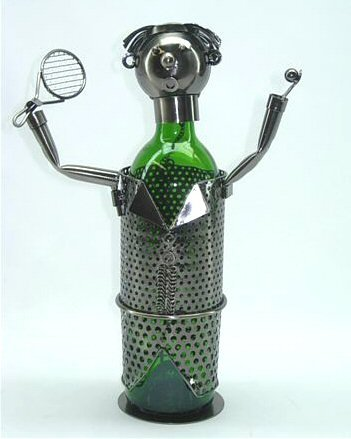 WINE BODIES ZB600 Tennis Player Metal Bottle Holder, Charcoal -