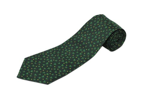 Extra Long St. Patrick's Day Shamrock Silk Tie - Irish Silk Tie