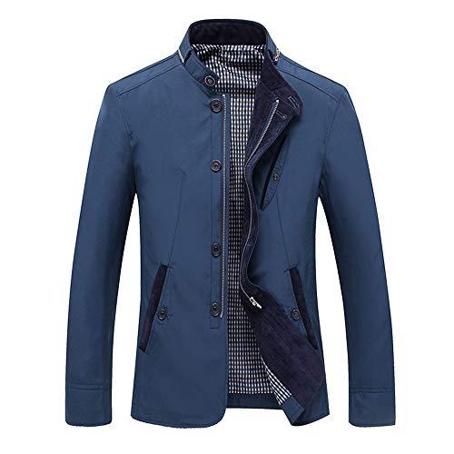 Veepola men's coat Chamarra de Invierno para Hombre, Cuello de pie, Chamarra de Lana con Cierre, Talla Grande, Azul, Large