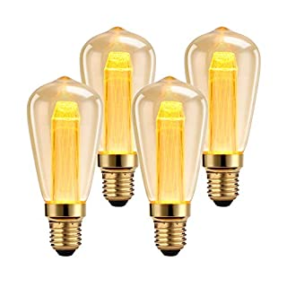 Dimmable LED Edison Light Bulbs 30 Watt Equivalent Vintage Light Bulbs, 2000K Amber Warm White, 150 Lumens,Antique Style Squirrel Cage Filament Edison Bulb, ST64, E26 Medium Base LED Bulbs (3W-4 Pack)