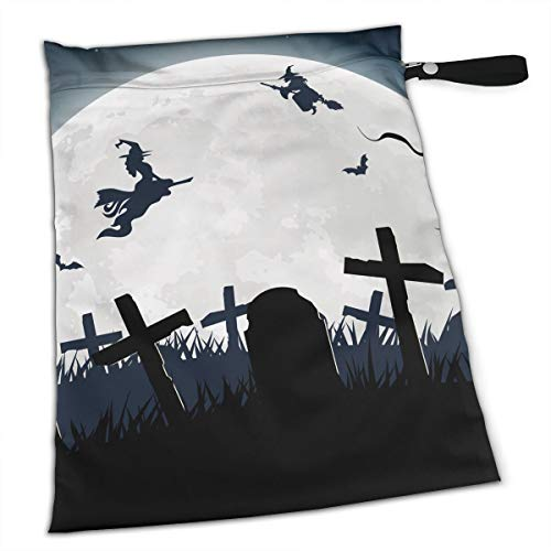- Halloween Witch Broom Silhouette Cemetery Lawn For Swimsuit And Towels Waterproof Kids Baby Boy Clothes Diaper Hanging Reusable Menstrual Sanitary Cloth Pads Handle Wristlet Portable Wet-dry Bag
