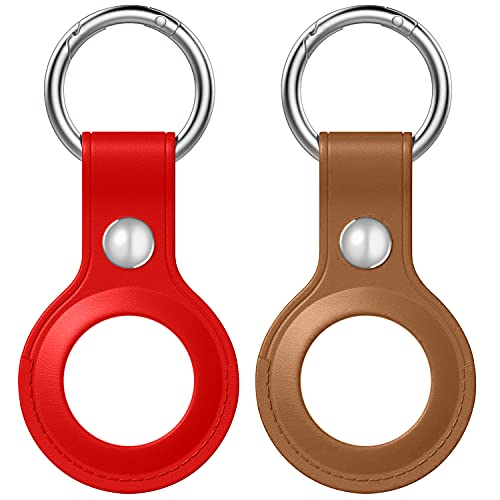 2 Pack Case for AirTag, Azddur Genuine Leather case for AirTags Key Chain Loop, Easy Carry AirTag Holder Cover for Keys, Backpacks, Liner Bags (Brown Red)