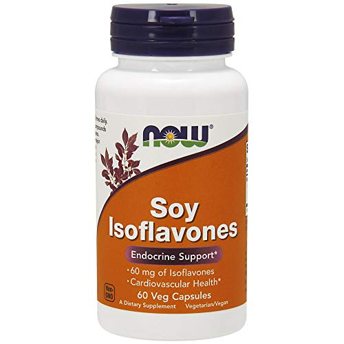 NOW Supplements, Soy Isoflavones 60 mg (Plant Compounds Particularly Concentrated in Soybeans, like Genistein, Daidzein and Glycitein), 60 Veg Capsules