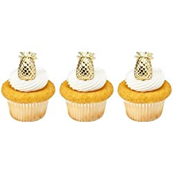 12 PINEAPPLE plastic CUPCAKE topper PICKS party LUAU welcome GOLD favors DECOR cake BAKE sale