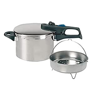 ELO 99286 Extra Large Stainless Steel Super Fast Pressure Cooker with Basket, 6-1/2-Quart