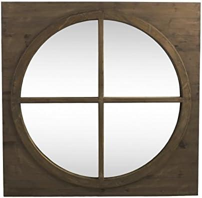 LH/éritier Du Temps Grand Miroir Carr/é Glace Ronde en Bois Style Ancien Oeil de Boeuf avec Croix 3x80x80cm
