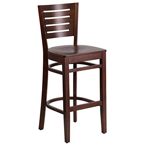 Flash Furniture Darby Series Slat Back Walnut Wood Restaurant Barstool (Slat Poster Series)