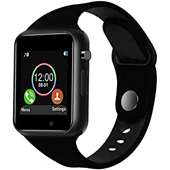 ... Wrist Watch Smartwatch Phone Fitness Tracker with SIM SD Card Slot Camera Pedometer Compatible iOS iPhone Android Samsung for Women Kids Men (Black)