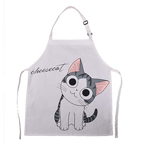 HOMCOS Kids Aprons Cartoon Cat Print Pattern Apron with Adjustable Neck Strap Child Chef Aprons for Boys and Girls (2-5 Year Old) ()