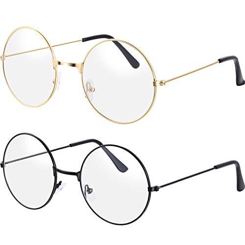 BM Bememo 2 Pairs of Wizard Glasses Round Wire Costume Glasses Accessories for Dressing Up (Gold and ()