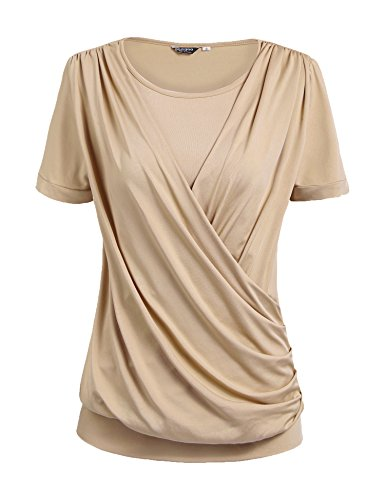 (Zeagoo Women's Round Neck Short Sleeve Pleated Front Fitted Blouse,Beige,Medium)