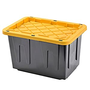 Muscle Rack PT23GSLBY-4 Plastic Heavy Duty Storage Tote Box, 23 Gal, Black with Yellow Lid, Stackable, 4-Pack