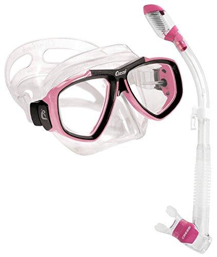 Cressi Focus Snorkeling Dive Mask with 100% Dry Snorkel Set, Pink