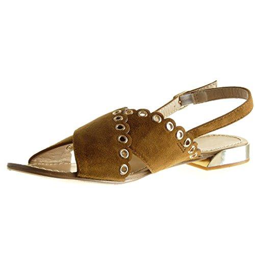Angkorly - Chaussure Mode Sandale ouverte femme perforée clouté Talon plat 1.5 CM - Camel
