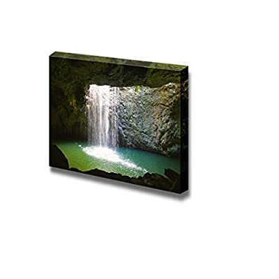 Canvas Prints Wall Art - The Waterfall at Natural Arch in Springbrook National Park,Australia | Modern Home Deoration/Wall Art Giclee Printing Wrapped Canvas Art Ready to Hang - 24