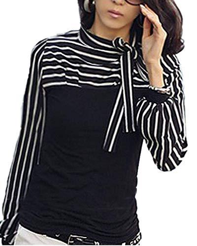 Shirts Tops Manches Longues Style Rayures Femme Hipster Haut Mode Branch Blouse Automne Fit Slim Jeune lgant Schwarz Spcial Large Bowknot Bandage Printemps Mode D'pissure B7qBO6