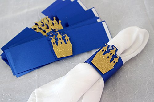 All About Details Royal Blue & Gold Prince Theme Napkin Holders, Set of 12]()