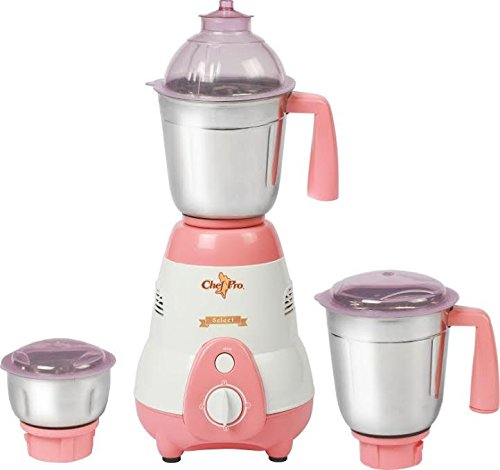 Chef Pro CMG615 Mixer Grinder with 3 Stainless Steel Jars, 550 W, White with Peach
