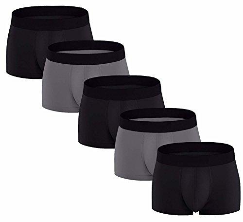 (ADOLPH Men's Boxer Briefs 5 Pack No Ride-up Breathable Comfortable Cotton Sport Underwear)