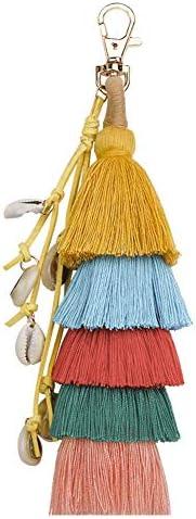 KKCVファッション女性カラフルなレイヤードタッシェルペンダントキーホルダーリングバッグ飾りキーホルダー