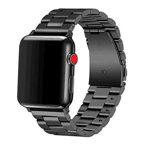 Libra Gemini Apple Watch Band 42mm 44mm Stainless Steel Metal Apple Watch Bands for Apple Watch Series 4/3/2/1(Black) (208 Silver Case Watch)