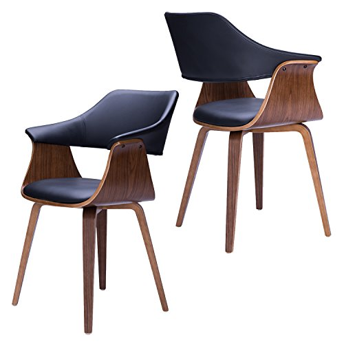 - Armchair for Office | Dining Room | Living Room | Computer Chair, Mid Century Modern | Black Walnut, 2-Pack by Supernova (Bentwood, Black)