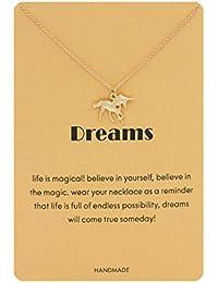 Message Animal Pendant Necklace Unicorn Snowflake Luck Elephant Dangle Y Necklace Jewelry