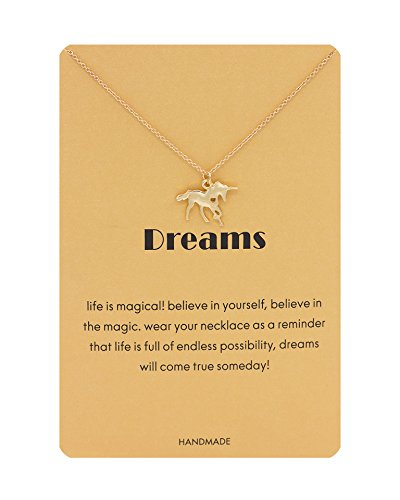 Zealmer Unicorn Necklace Gold Chain Dreams Unicorn Pendant Necklace with Message Card as Gift for Women