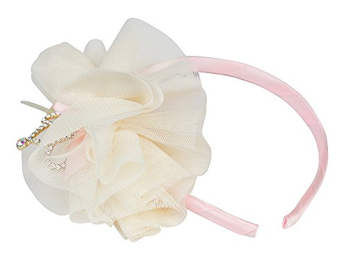 FRILLS Baby Girl Tiara & Tulle Hairband - Perfect Wedding Flower Girls Headband for Toddler - Ivory