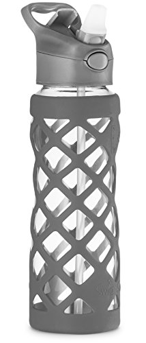 SWIG SAVVY 25oz Glass Water Bottle - Protective Silicone Sleeve With 3 Interchangeable Leak-proof Caps Sleek, Durable & Stylish – PBA Free – Break Resistant Borosilicate Glass (Gray, 1 Pack) Borosilicate Glass Bottle