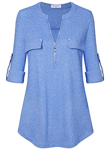 - Bulotus Women's Zip Front Roll Sleeve Loose Casual Blouse for Work,Light Blue,Small