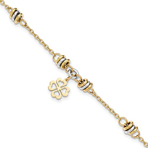 ICE CARATS 14k Two Tone Yellow Gold 7.5 Inch Four Leaf Clover Bracelet 7.50 Celtic Claddagh Good Luck Fine Jewelry Gift Valentine Day Set For Women Heart (14k Gold Claddagh Bracelet)