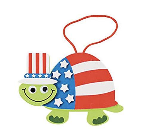 (24) Patriotic Turtle Foam Ornament Craft Kits ~