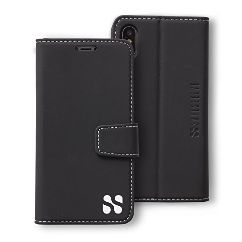 Anti Radiation RFID iPhone Case: iPhone X (10) ELF & RF Blocking Identity Theft Protection Wallet (Black) by SafeSleeve